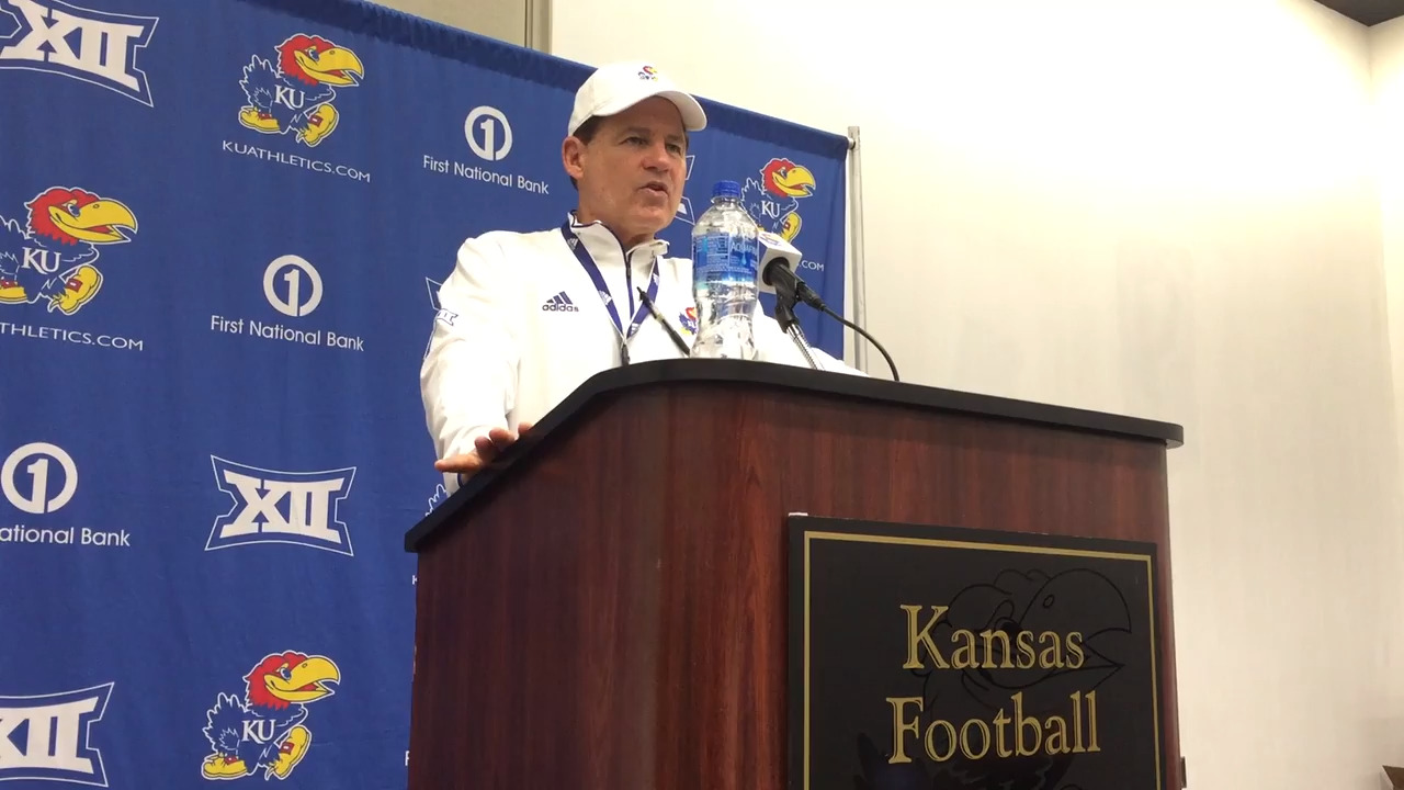 'Mad Hatter' Les Miles entertaining, bold during KU's final spring press conference