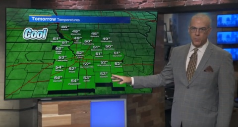 Tuesday's temperature should hit the mid-50s, but another cold front is on the way