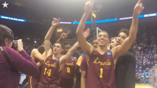 Loyola Chicago players celebrate advancing to Elite Eight