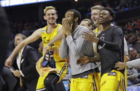 No. 16 UMBC players celebrate win over No. 1 Virginia to make NCAA Tournament history