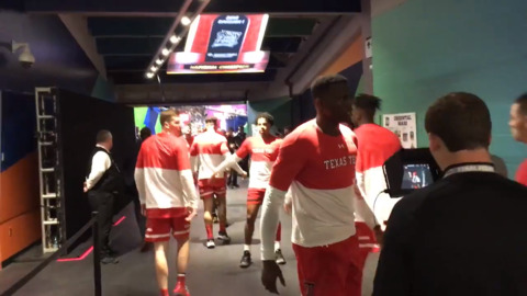Texas Tech players enter the court for NCAA title game