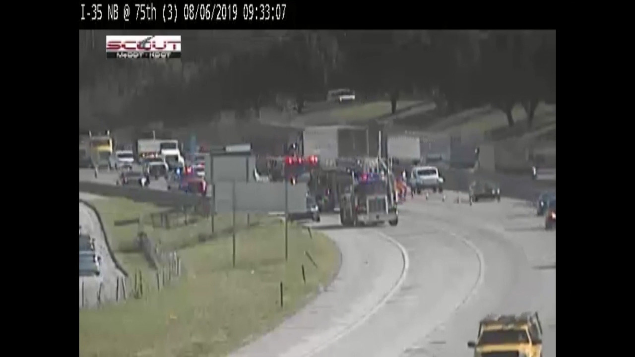 Semi truck overturns, catches fire on I-35 in Johnson County
