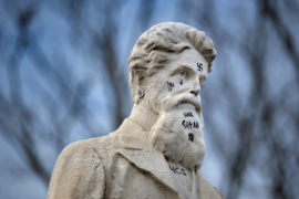 John Brown statue defaced with Nazi, racist and profane symbols