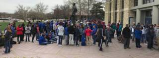 Fans line up at Allen Fieldhouse to watch KU in the Final Four