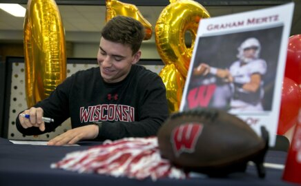 Blue Valley North QB Graham Mertz signs with Wisconsin