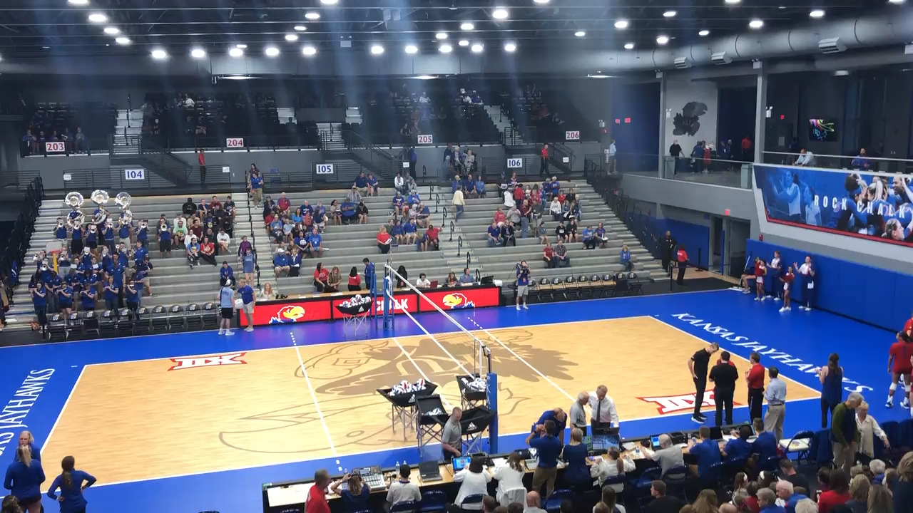 Jayhawks win first match contested in new volleyball arena: 'Beautiful, isn't it?'