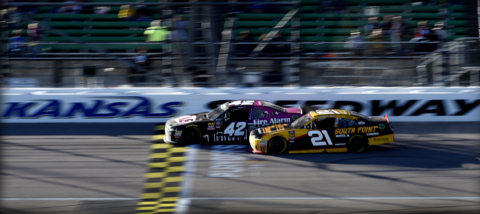 Part-time driver John Hunter Nemechek elated to beat all the Nascar Infinity Series title contenders Saturday at Kansas Speedway