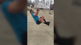 Watch: Raytown firefighter completes his workout on a ladder truck
