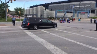 Funeral procession for deputies King and Rohrer arrives at Children's Mercy Park