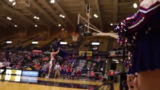 Scary moment as player is shoved from behind on fast break dunk attempt