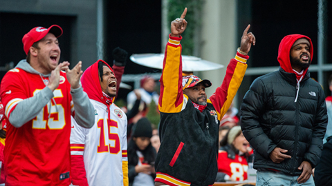 Fans celebrate at KC Live! after Chiefs beat Browns in AFC divisional playoff