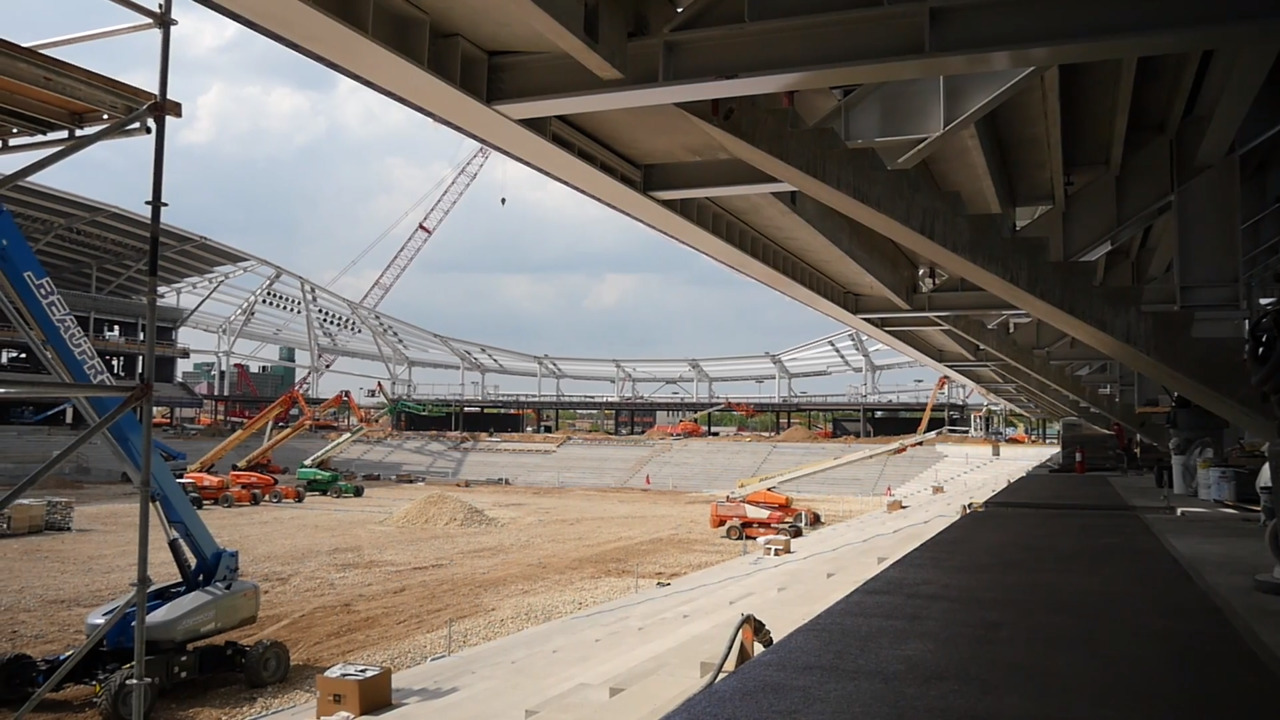 View from inside partially constructed Allianz Field