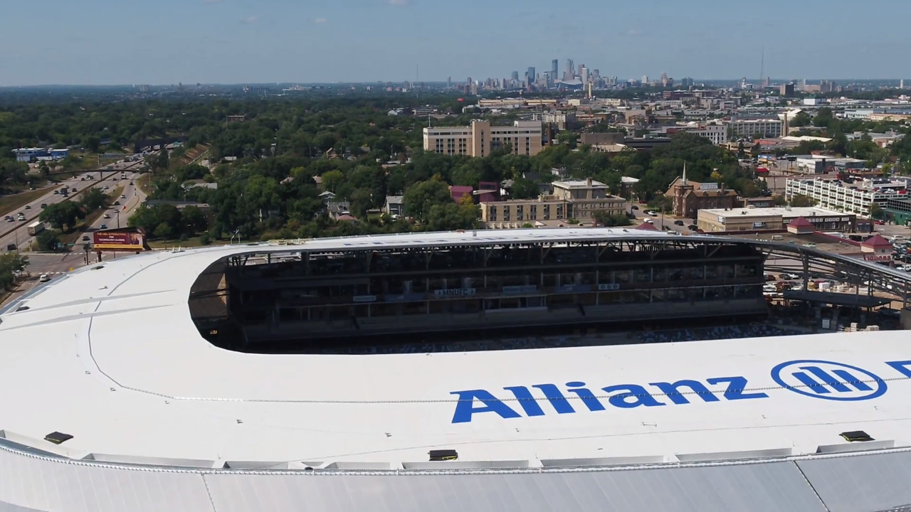 Elevated view of Allianz Field from the outside