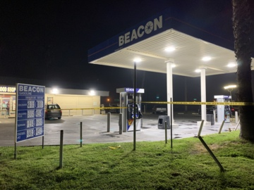 Fresno Police investigate a shooting at a gas station, west of highway 99