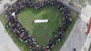 Drone video shows Fowler High students forming a heart on campus with #Parkland at its center