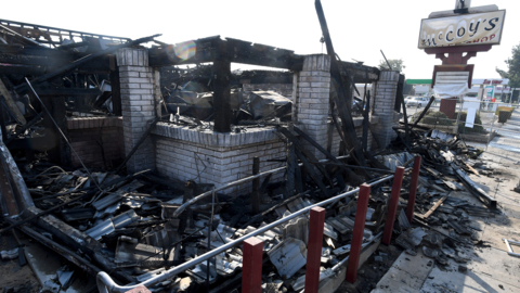 Coffee shop in Fresno burns down to the frame. No word yet on cause of blaze