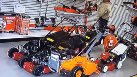 Watch man stuff chainsaw down pants in theft from equipment shop