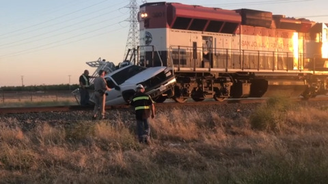 Train smashes truck in rural Fresno County, dragging driver and his dog 200-plus yards