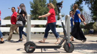 Fresnans test out Bird electric scooters