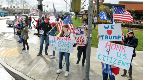 Fresno Trump supporters gather at Blackstone and Nees avenues