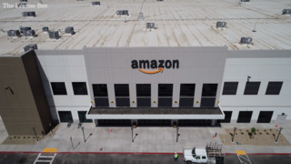 A drone flyover of the newly completed Amazon fulfillment center in Fresno