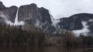 See flooding in Yosemite Valley and a swollen Yosemite Falls