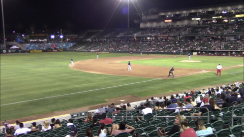 Fresno Grizzlies fans react to a magnitude 7.1 earthquake felt at Chukchansi Park