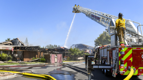 Video shows massive fire damage to north Fresno commercial building