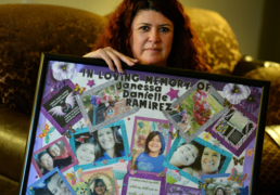 Stacey Gonzales reads what she told the killer of her daughter, Janessa Ramirez