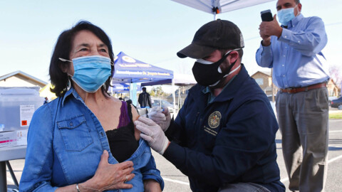 UFW's Dolores Huerta gets her first COVID vaccine shot