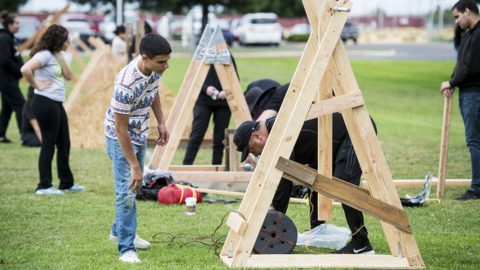 Ready to storm the castle. Merced College students launch annual Siege Weapons Competition