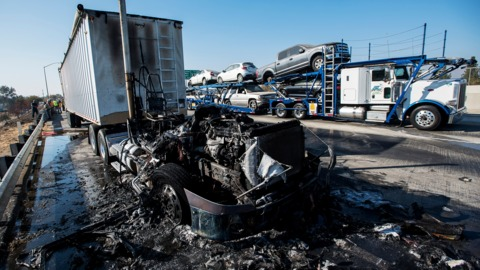 Video: Big rig catches fire on Highway 99 in Merced County