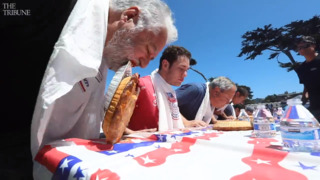 Stuffing their faces: Cambria pie-eating contestants show determination on Fourth of July