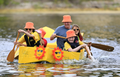 Watch spills and thrills from the Atascadero Lakefest Cardboard Boat Regatta