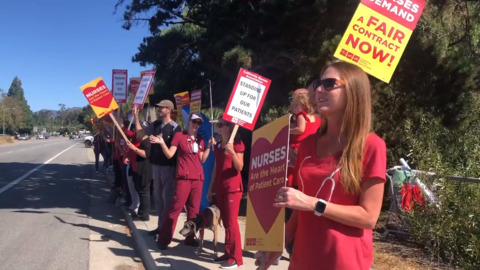 'The nurses are together': 500 strike in SLO County to demand more hiring