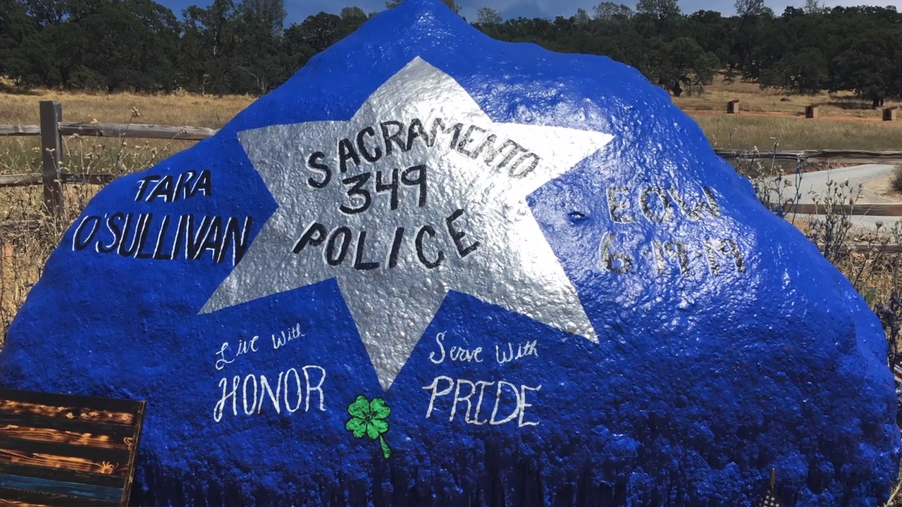 Two rocks were painted to honor Tara O'Sullivan. Two days later, one was painted over