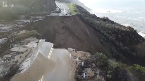 Big Sur video shows what it's like driving up to gaping hole in Hwy. 1 – and flying over it