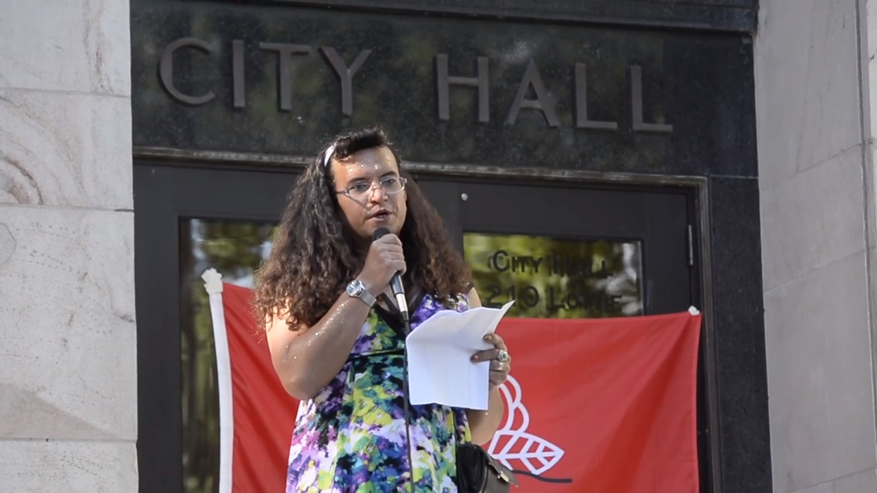 'No matter your background, we are human,' speaker says at Stonewall march and protest