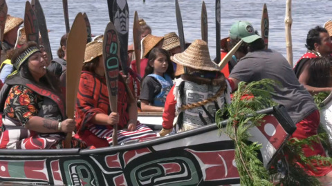 Nearly 100 canoes arrive at Lummi Nation – the final stop of annual Tribal Canoe Journey