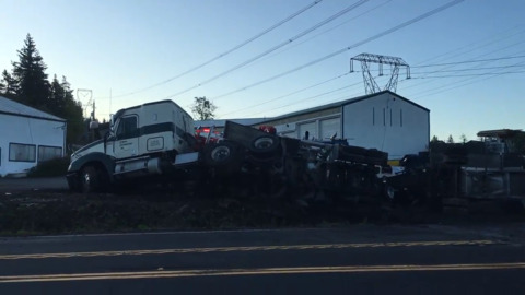 Mount Baker Highway commute snarled after semi rollover crash and downed power lines