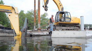 Watch crews install a new dock at Bloedel Donovan Park on Lake Whatcom