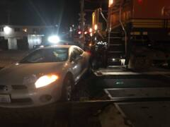 That was close! Car, train narrowly miss collision at downtown Bellingham rail crossing