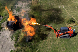 Company's flamethrower shows off skid steer attachment in fiery fashion