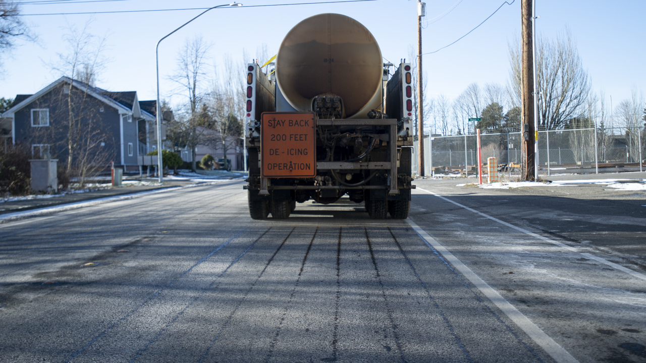 Whose roads get plowed first when the snow falls in the Whatcom lowlands?