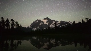 Timelapse video of clouds, stars at Mount Shuksan and Picture Lake