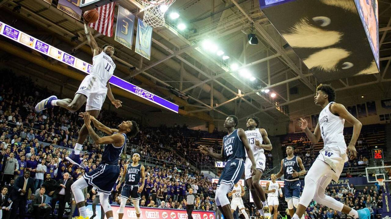 Nahziah Carter sparks No. 20 Huskies to 56-46 victory over Mount St. Mary's