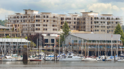 Water-view development offering senior apartments, shops and dining nears finish line