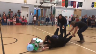'Hungry Hippos' fill their 'stomachs' at Olympia elementary school