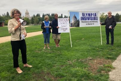 "State Rep. Beth Doglio speaks at Olympia Indivisible's ""Defund Hate"" rally"
