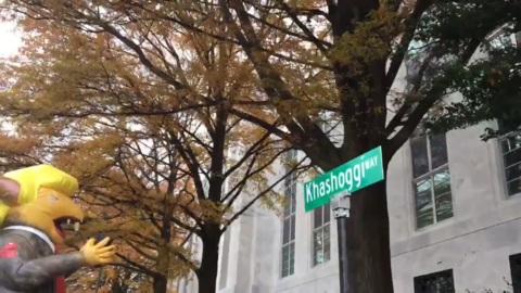 'Khashoggi Way' sign placed outside Saudi embassy in Washington DC